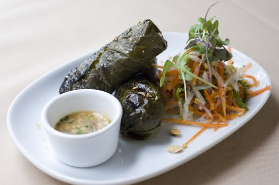 stuffed grape leaves at meritage