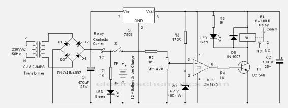 Circuit automatic battery charger charging current to the battery cut off and the relay remains as such since the battery voltage135v or more keeps the voltage at pin3 of ic2 is higher publicscrutiny Images