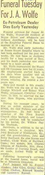 Jim's obituary, 1956