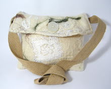 Cream silk and wool handbag with hessian strap