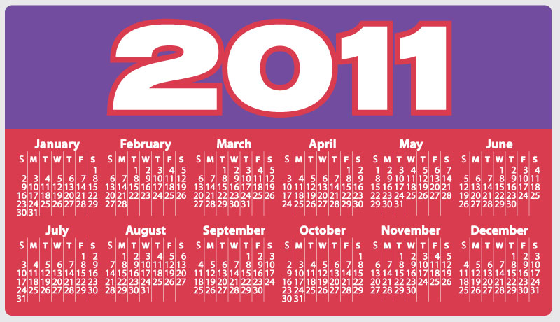 2011 calendar red. 2011 Calendar With Holiday Highlights, Public Holiday Calendar 2010-2011