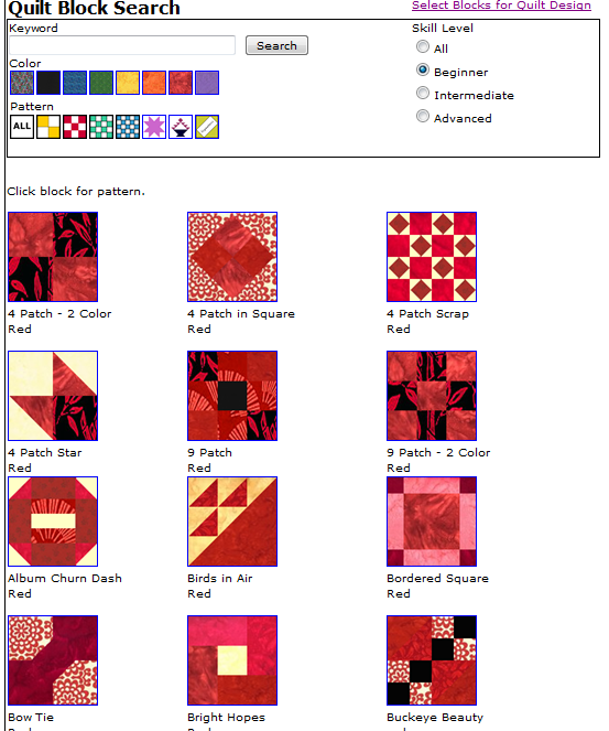 Free Quilt Block Design Program : MyWebQuilter.com: New Free Quilt Block Pattern Search