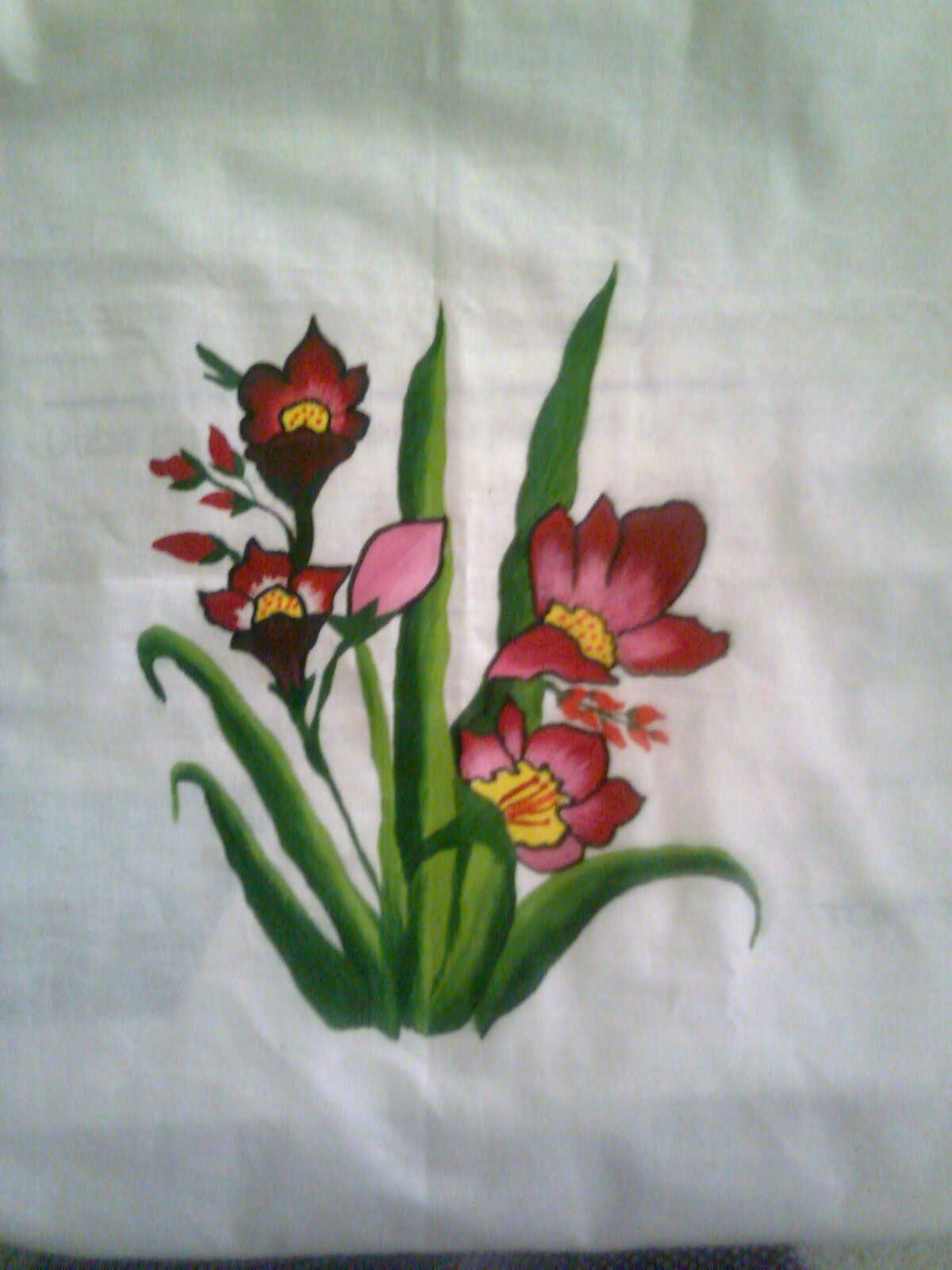 Bed sheet design for paintings - Fabric Painting Design Add Caption