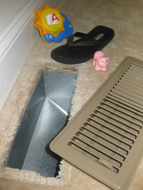 New Adventures In Baby Proofing: Metal Floor Vents