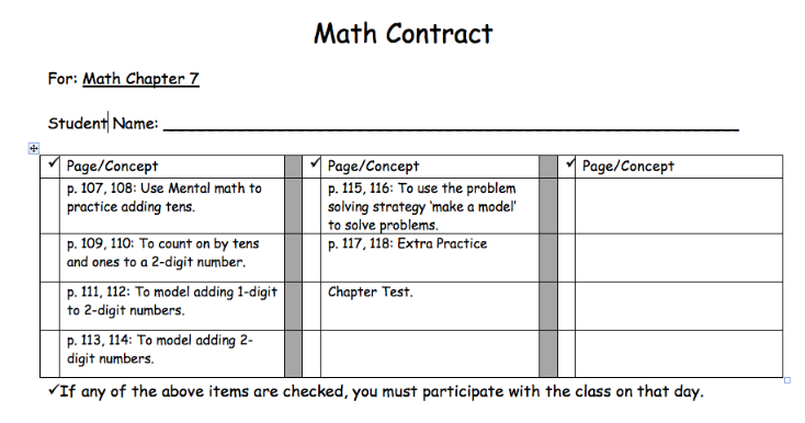 For the Love of Teaching Using Contracts to Extend Learning – Learning Contract Template