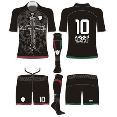 ... vi esse primeiro desenho do terceiro uniforme da Portuguesa. Não é a  primeira vez que a Lusa vai usar uma camisa negra fe20e9aff1eb2