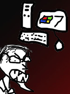 Royalty Free photograph of Bill Gates using Windows 7 on his trusty 386