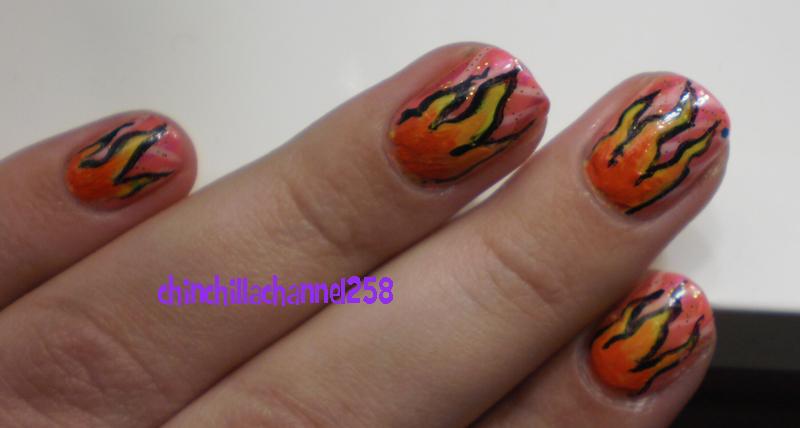 Cookingchinchillas Fade Effect Flame Nail Art Design