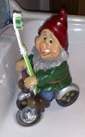 Mr Gnome says, 'Brush your teeth'