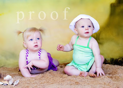 Fort Worth Texas baby photography picture of babies in swimsuits on beach