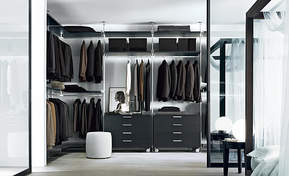 An open closet design with a