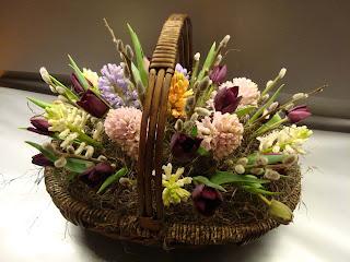 корзина весенних цветов.