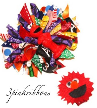 Sesame Street ELMO Boutique Hair Bow and ribbon art clippie!