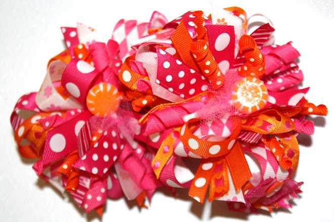 Raspberry and Orange LolliPOP hair Bows