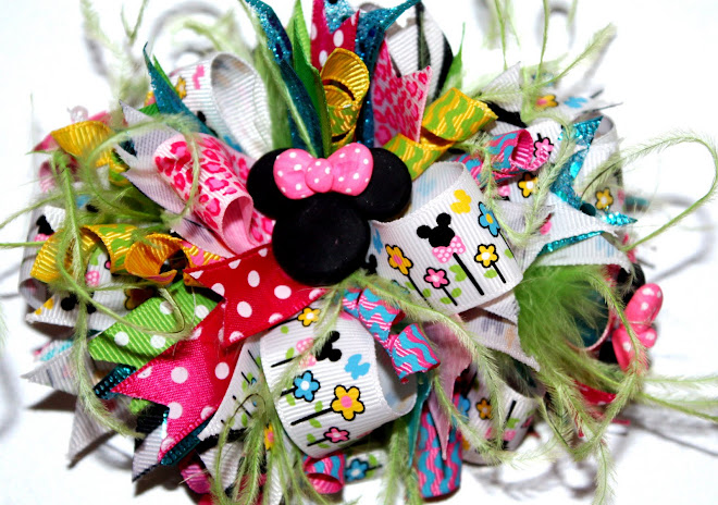 Garden Minnie Mouse Funky Loopy Hair Bow