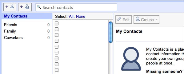 Old Gmail Contact manager