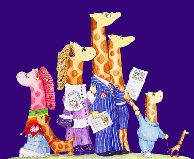 The Neckmann family of giraffes by North East giraffe artist Ingrid Sylvestre Durham North East UK