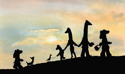 North East artist writer & entertainer Ingrid Sylvestre Durham UK The Neckmann family walking on the Neckmoors - silhouette