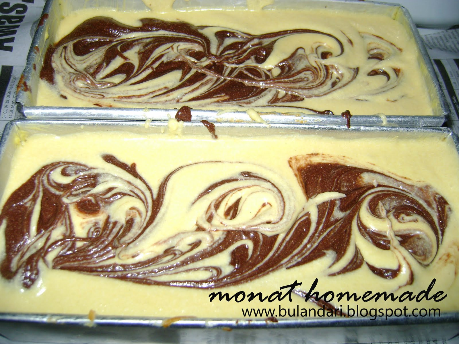 begini penampakan cake marmer sebelum dioven