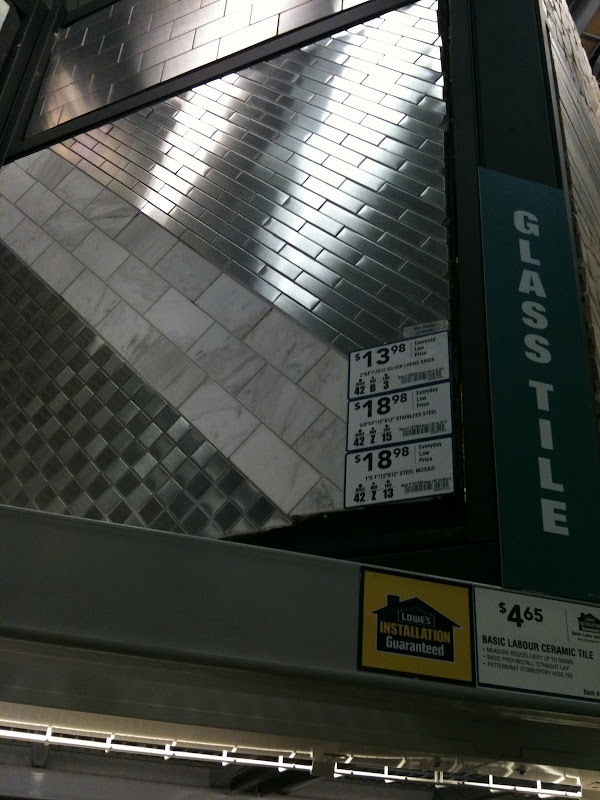selected this rectangular mosaic stainless steel tile from Lowes for  title=