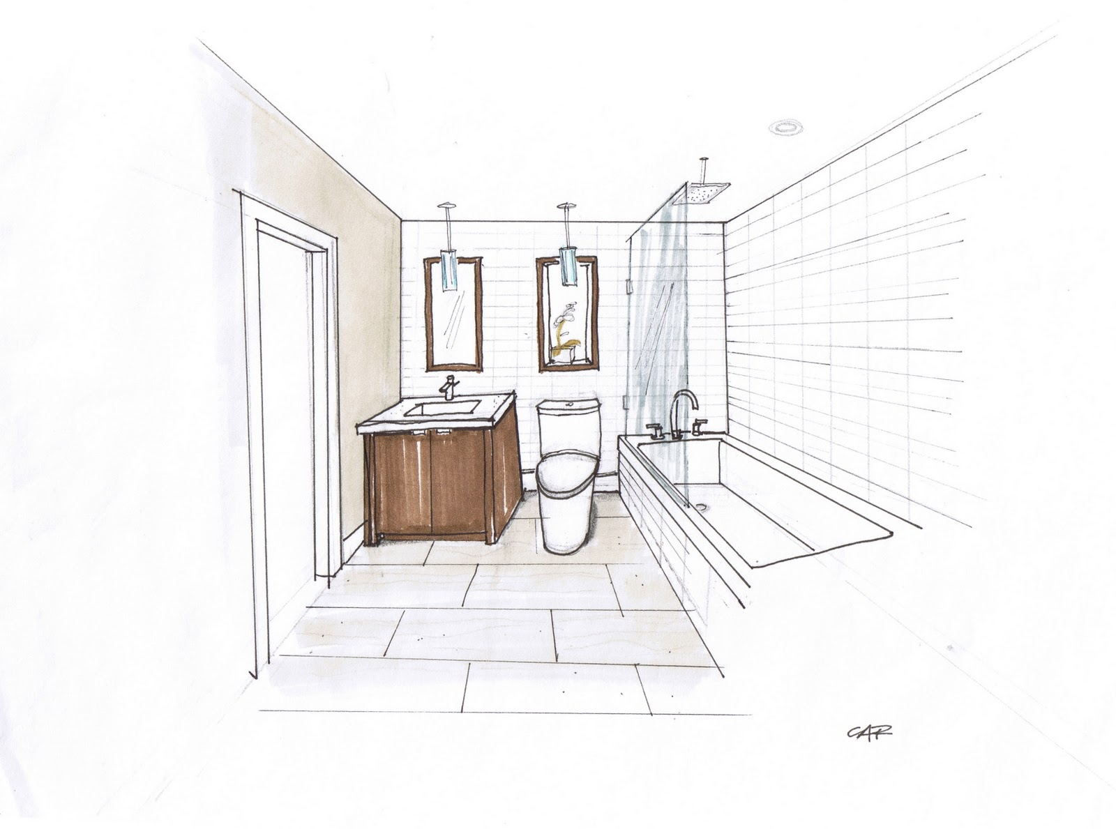 Guest Bathroom design and rendering by Carol Reed Interior Design.