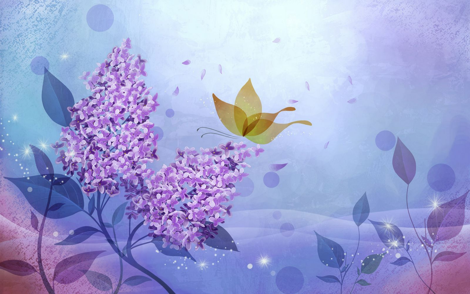 Beautifully illustrated vector flower backgrounds for Lilac butterfly wallpaper