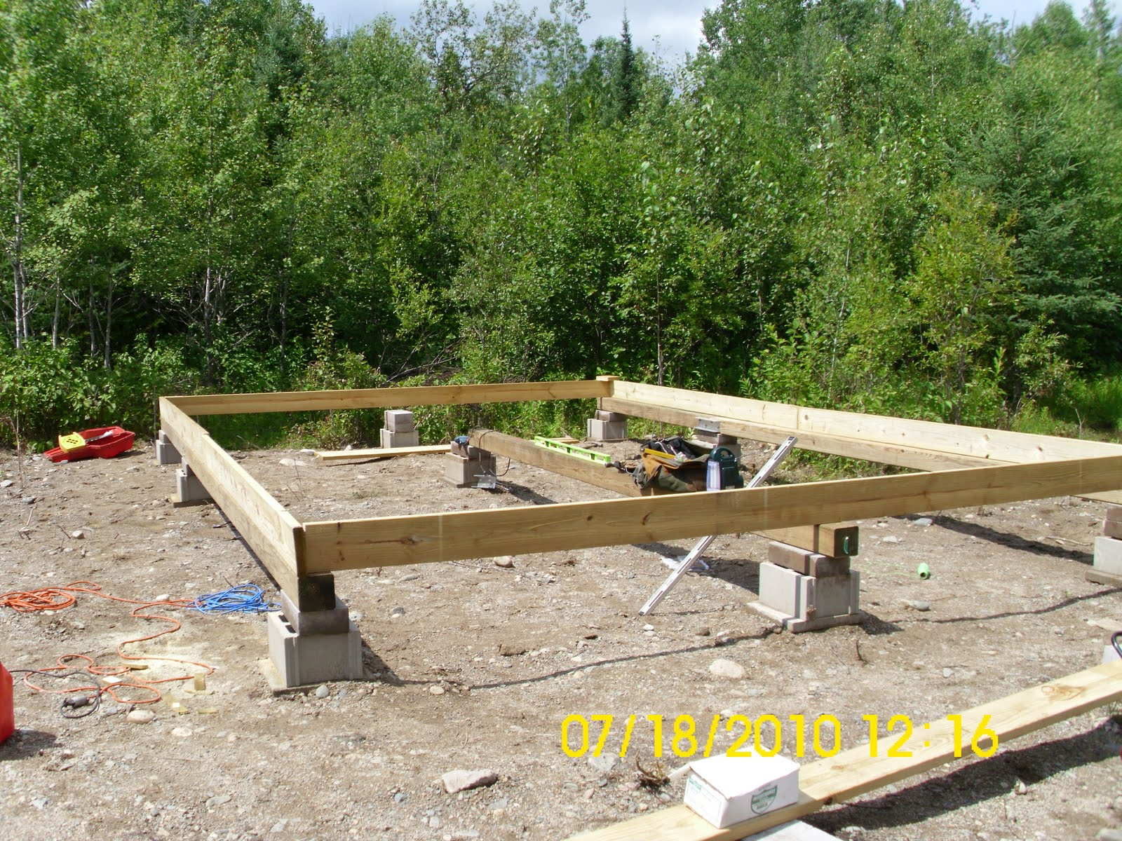 Off the grid cabin build foundation block piers for How to build a pier foundation