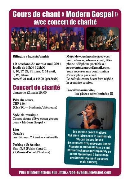 "Prospectus Cours ""Modern Gospel"" 2011"