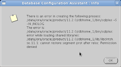 Database Configuration Assistant: Info - There is an error in creating the following process: /data/ora/oracle/product/11.2.0/dbhome_1/bin/sqlplus -s -N /NOLOG  The error is: /data/ora/oracle/product/11.2.0/dbhome_1/bin/sqlplus: error while loading shared libraries: /data/ora/oracle/product/11.2.0/dbhome_1/lib/libclntsh.so.11.1: cannot restore segment prot after reloc: Permission denied