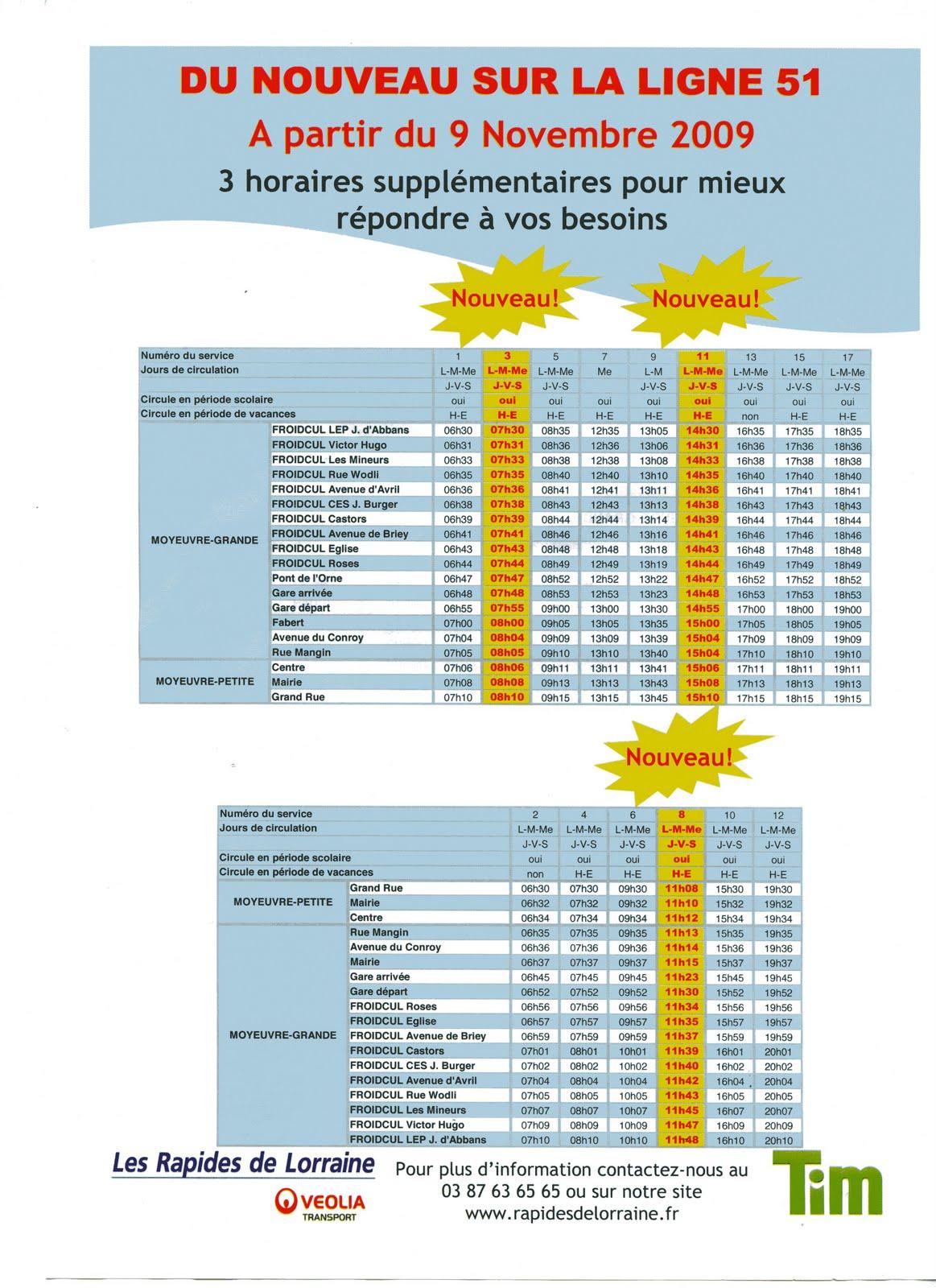 Froidcul vivre ligne de bus 51 froidcul moyeuvre centre moyeuvre p - Horaire cartreize ligne 51 ...