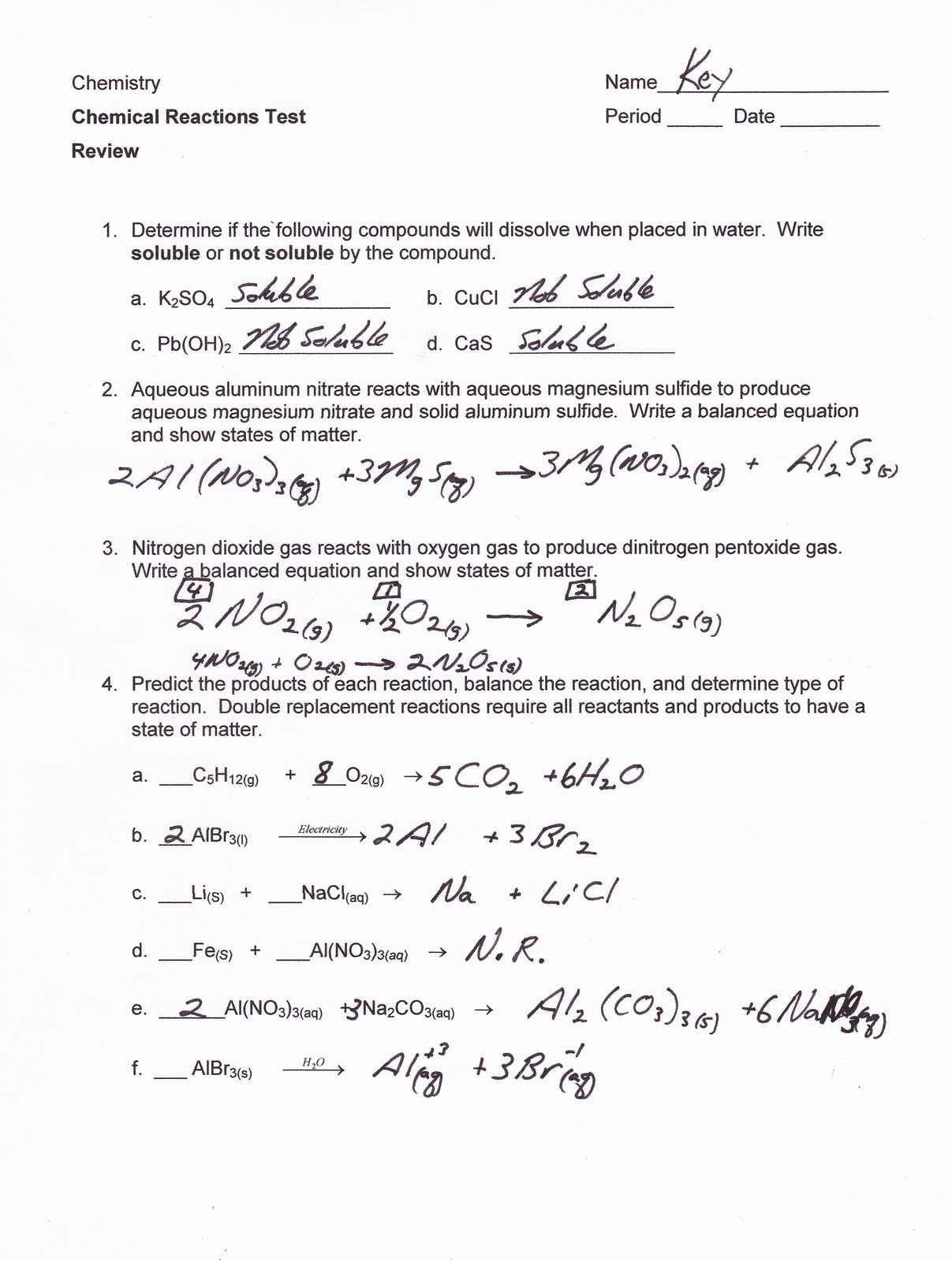 Mr Brueckners Chemistry Class HHS 201112 Chemical – Predicting Products Worksheet Answers