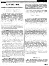 Decree issued by Zelaya on the Official Gazette dated June 26, 2009