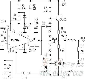 wiring schematic diagram  tda7294 high power output