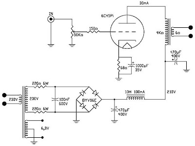shematic-Single-Ended-Class-A-Power-Amplifier-using-6C45Pi