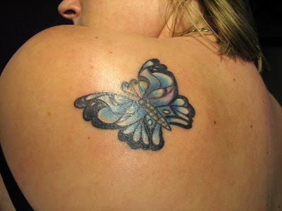 butterfly tattoo on shoulder. Labels: Beautiful Butterfly Shoulder Tattoos, Butterfly Back Tattoos,