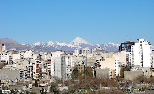 City view with Mount Damavand in the background