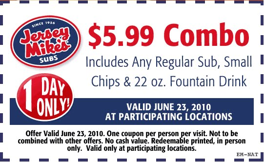 photograph relating to Jersey Mike's Printable Coupon referred to as Jersey mikes discount coupons / Barnes and noble coupon code 20