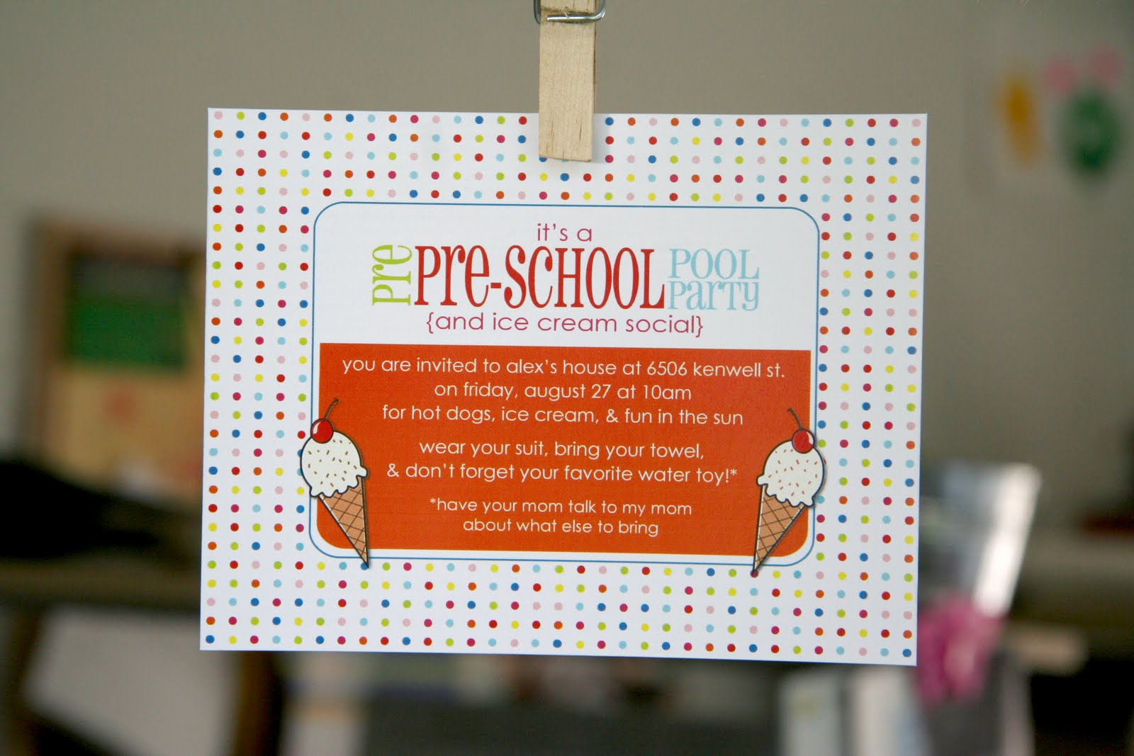 The Evans Family: Pre-Preschool Pool Party & Ice Cream Social