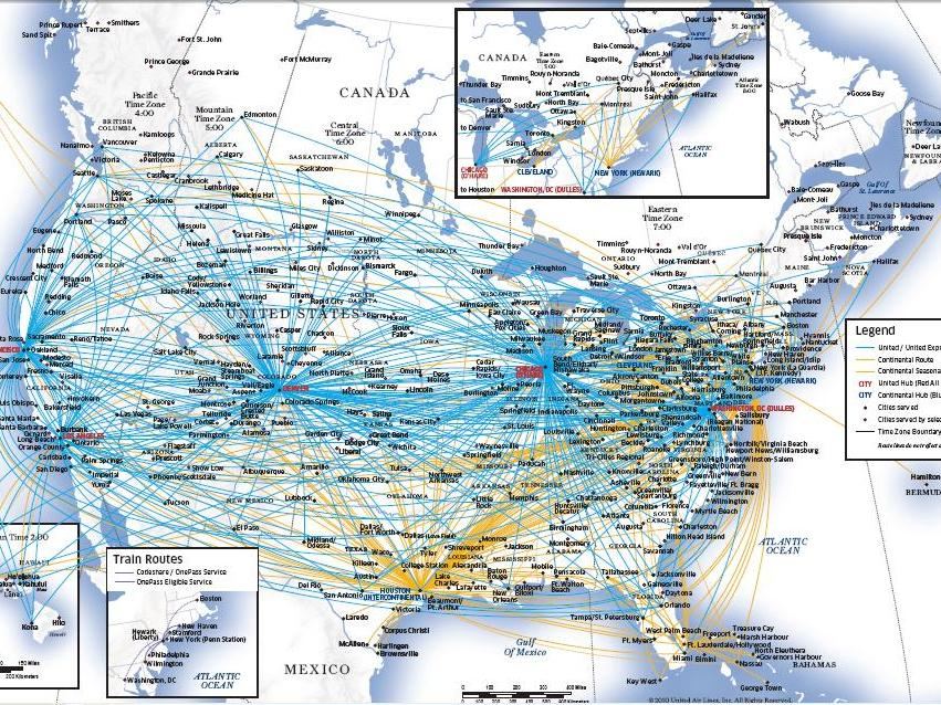 Us Airline Map - Us air hubs map