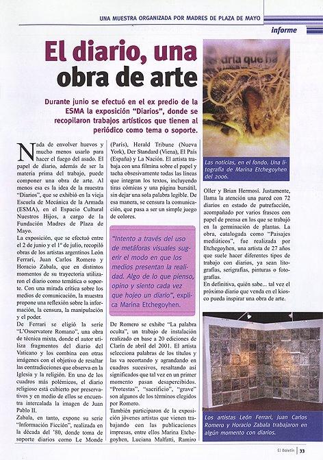 """""""El Boletín"""" Julio 2009. Expo en ECuNHi."""