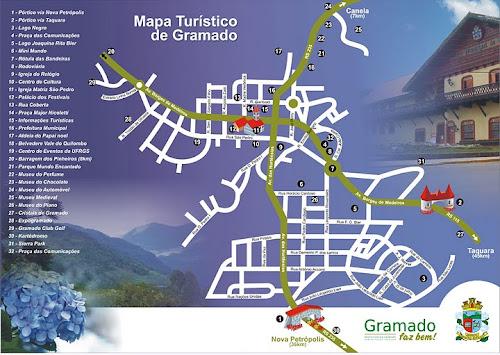 Mapa das atrações de Gramado