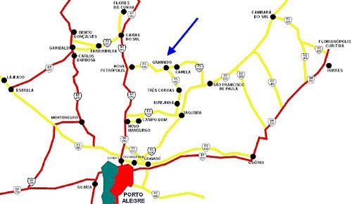 Mapa de acessos de Gramado