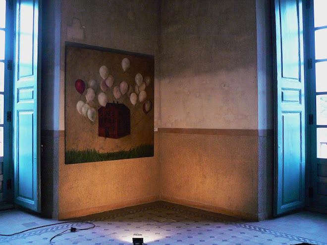 loreto pozuelo. el mundo al revés II. óleo sobre tela. (2008)