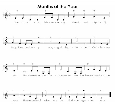 Music For Special Kids Months Of The Year Songs To Familiar Tunes
