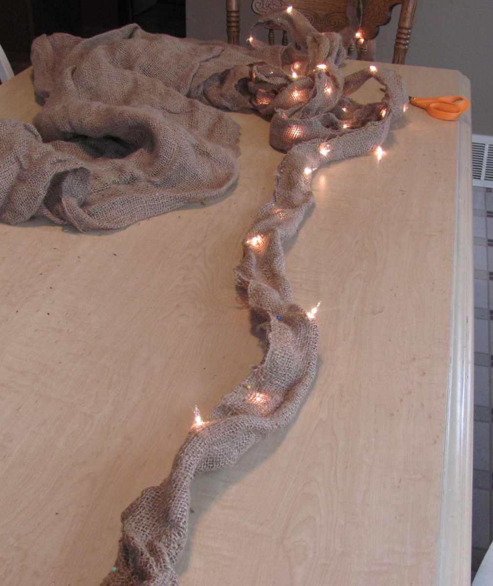 ... burlap with Christmas lights. Just one string of lights, but I had