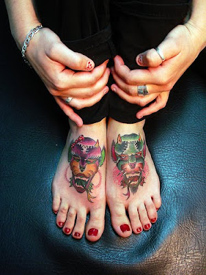 devil tattoos on feet girls