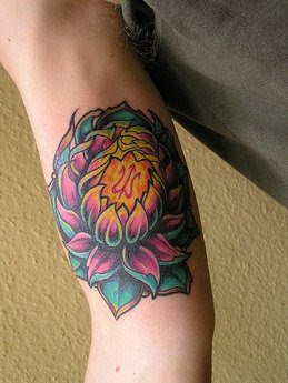 Lotus Flower Tattoo Design on Hand
