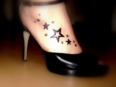 new star tattoo designs on feet