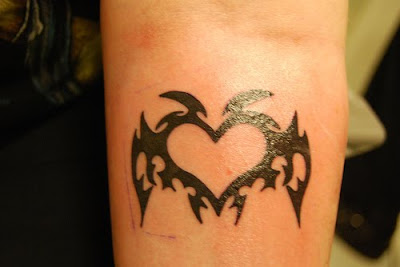 angels heart tattoo tribal