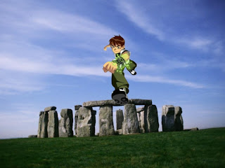 Ben Ten 10 running Wallpapers in Classic Stonehenge background